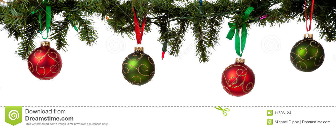 Christmas Ornament Hanging From Garland Stock Photo Image