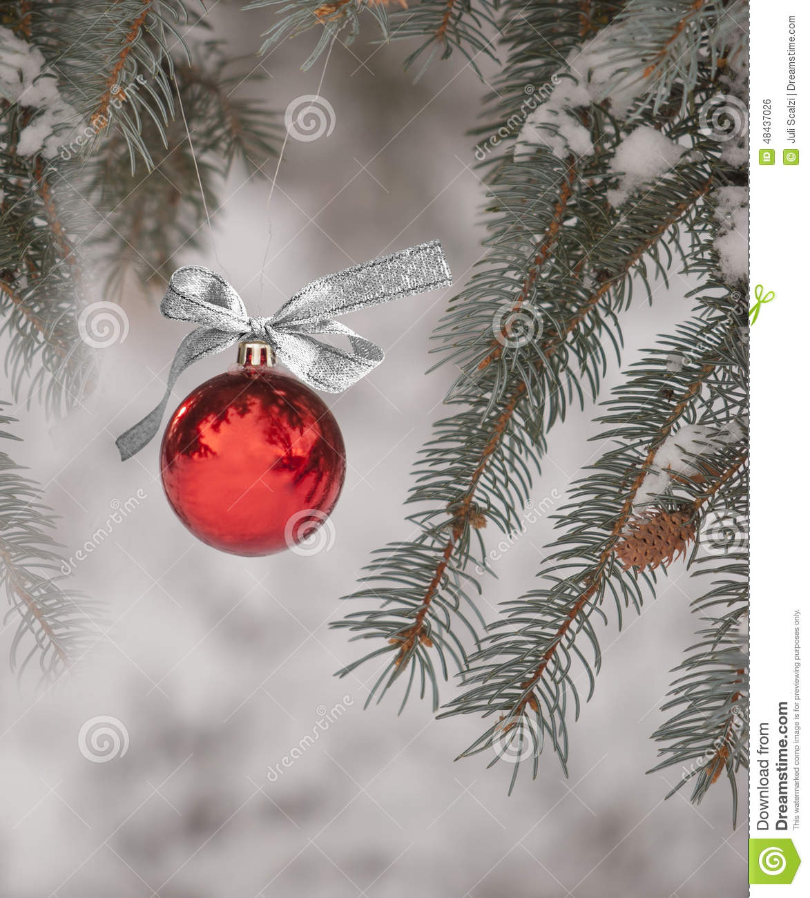 Christmas Ornament Hanging From Tree Outdoors Stock Photo