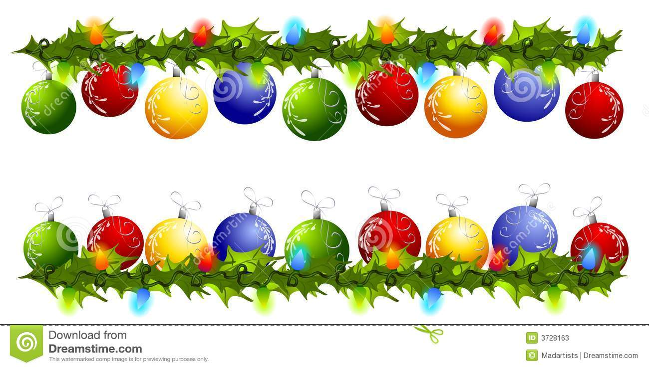Christmas Ornament Swag Borders Or Dividers Stock Illustration
