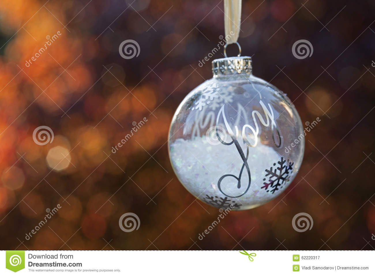 Christmas Ornament With The Word Joy Stock