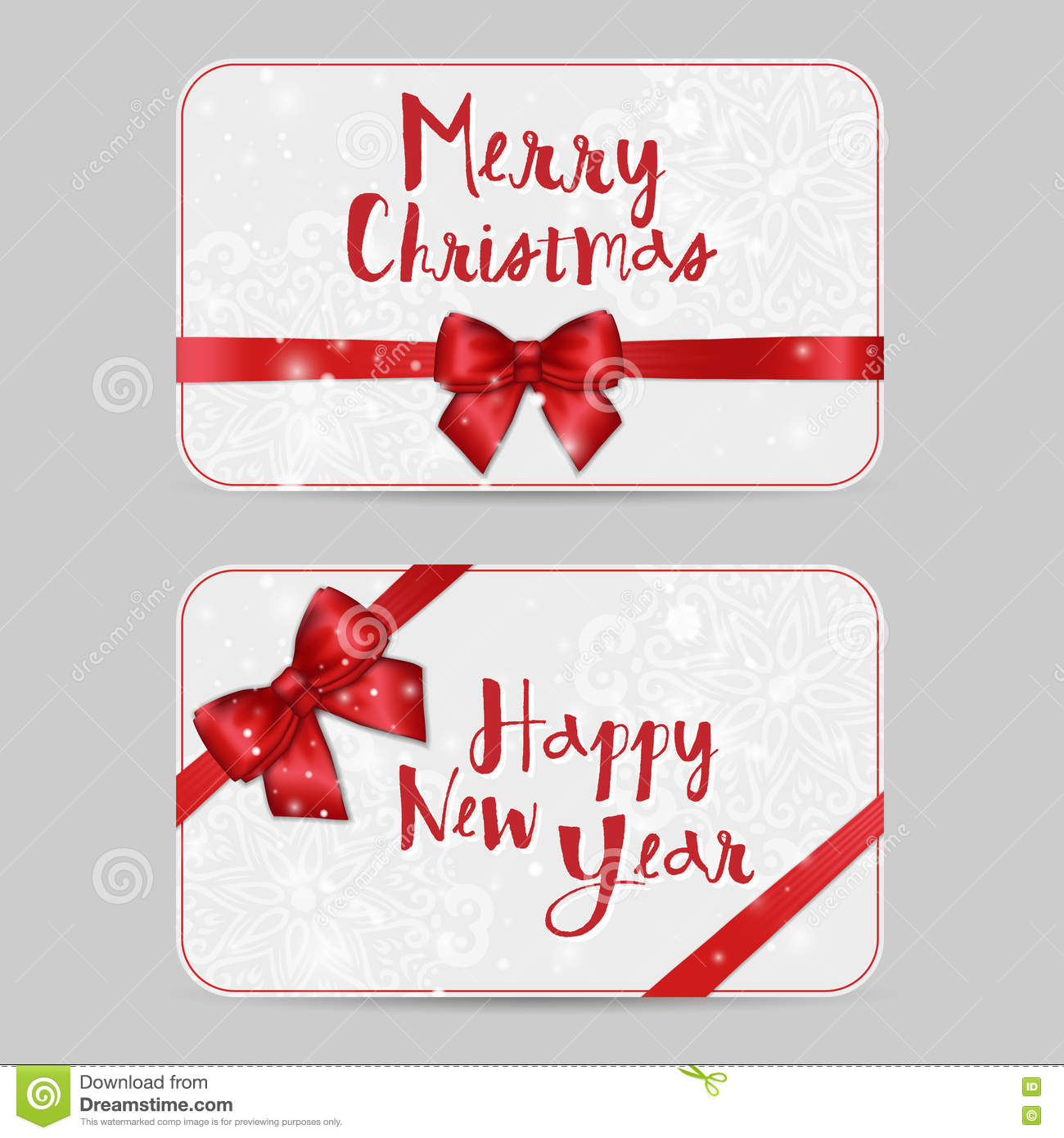 Christmas Ornamental Card Templates With Shiny Holiday Red Satin Ribbon Bow Vector New Year Template