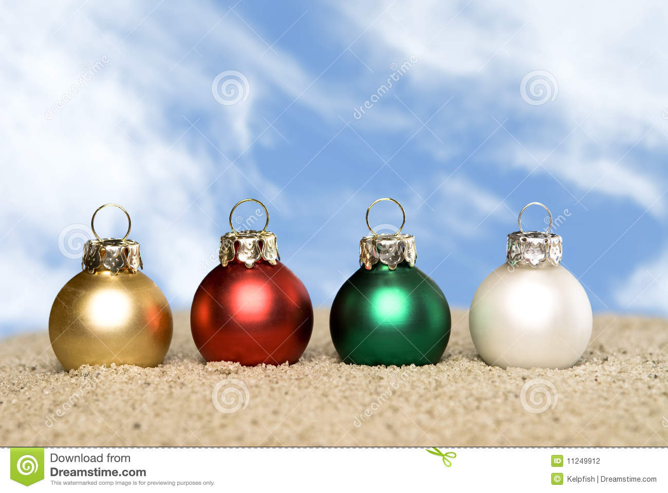 Christmas Ornaments On The Beach Stock Photo Image Of Warm