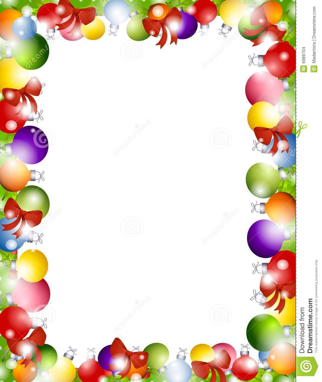 Christmas ornaments border stock illustration