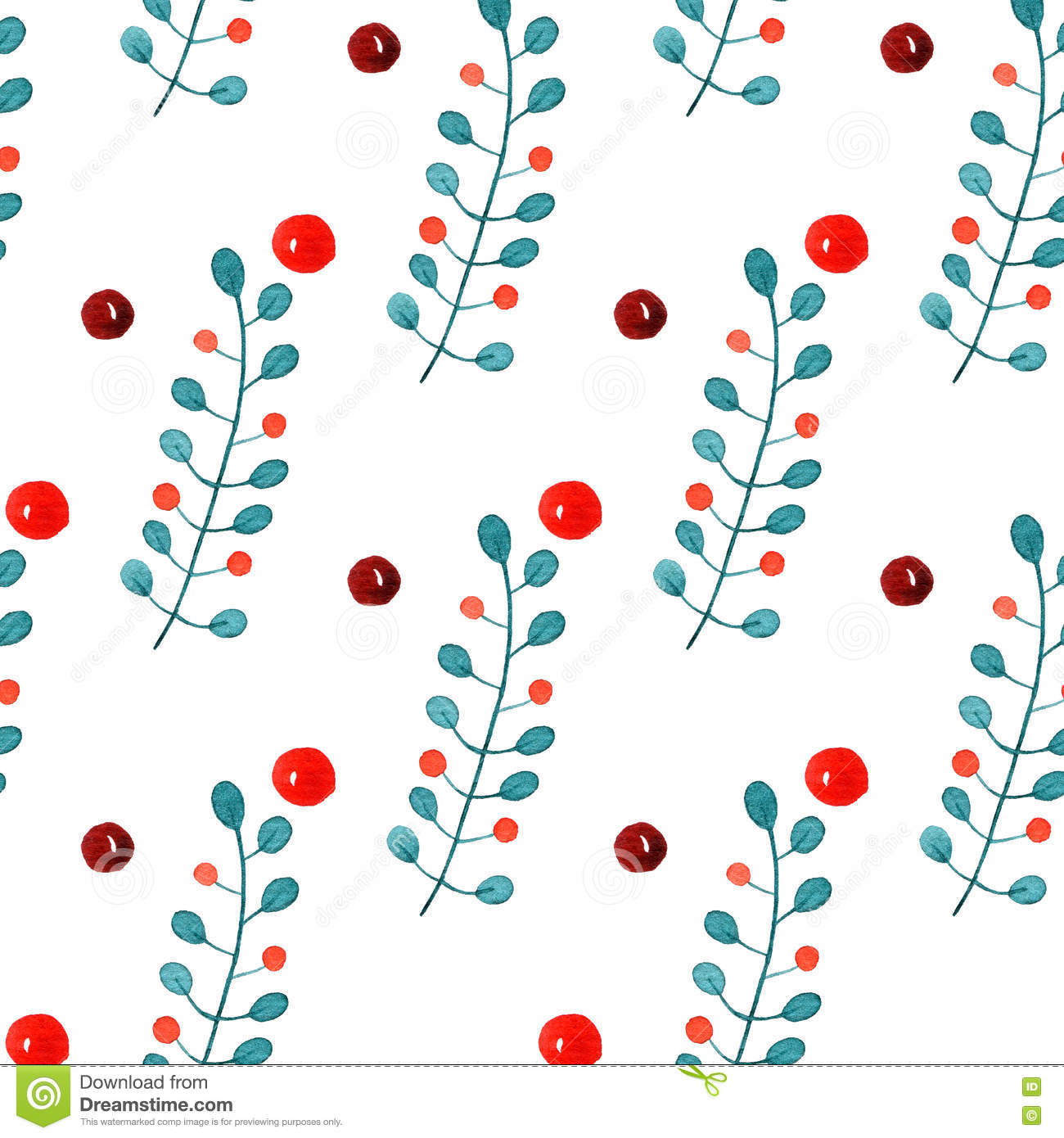 Holly christmas ornaments - Christmas Ornaments With The Branches And Holly Berries Watercolor Seamless Pattern On White Background