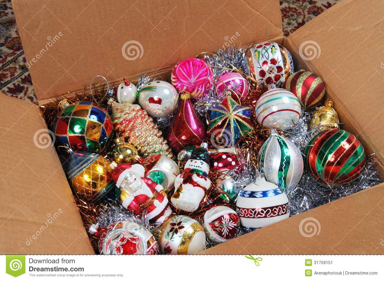 Christmas Box Decorations Part - 27: Royalty-Free Stock Photo. Download Christmas Ornaments In Cardboard Box.