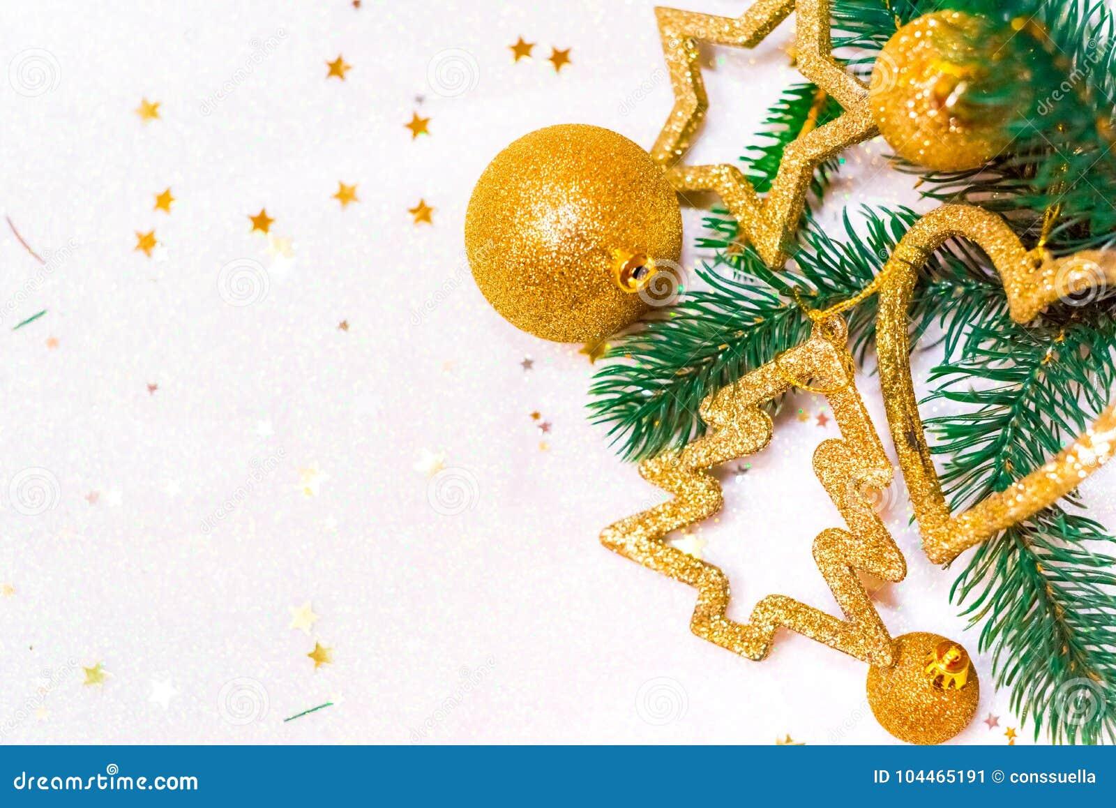 Christmas Ornaments, With Christmas Balls, Stars, Gold And ...