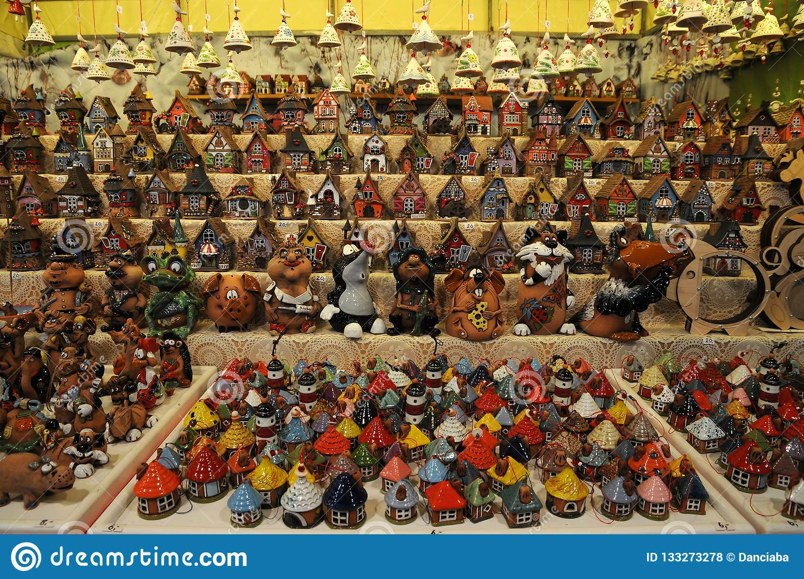 Little Christmas Italy.Christmas Ornaments In A Christmas Market Colored Lined