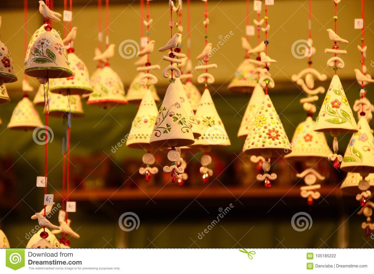 download christmas spheres and ornaments in a christmas market stock photo image of italian