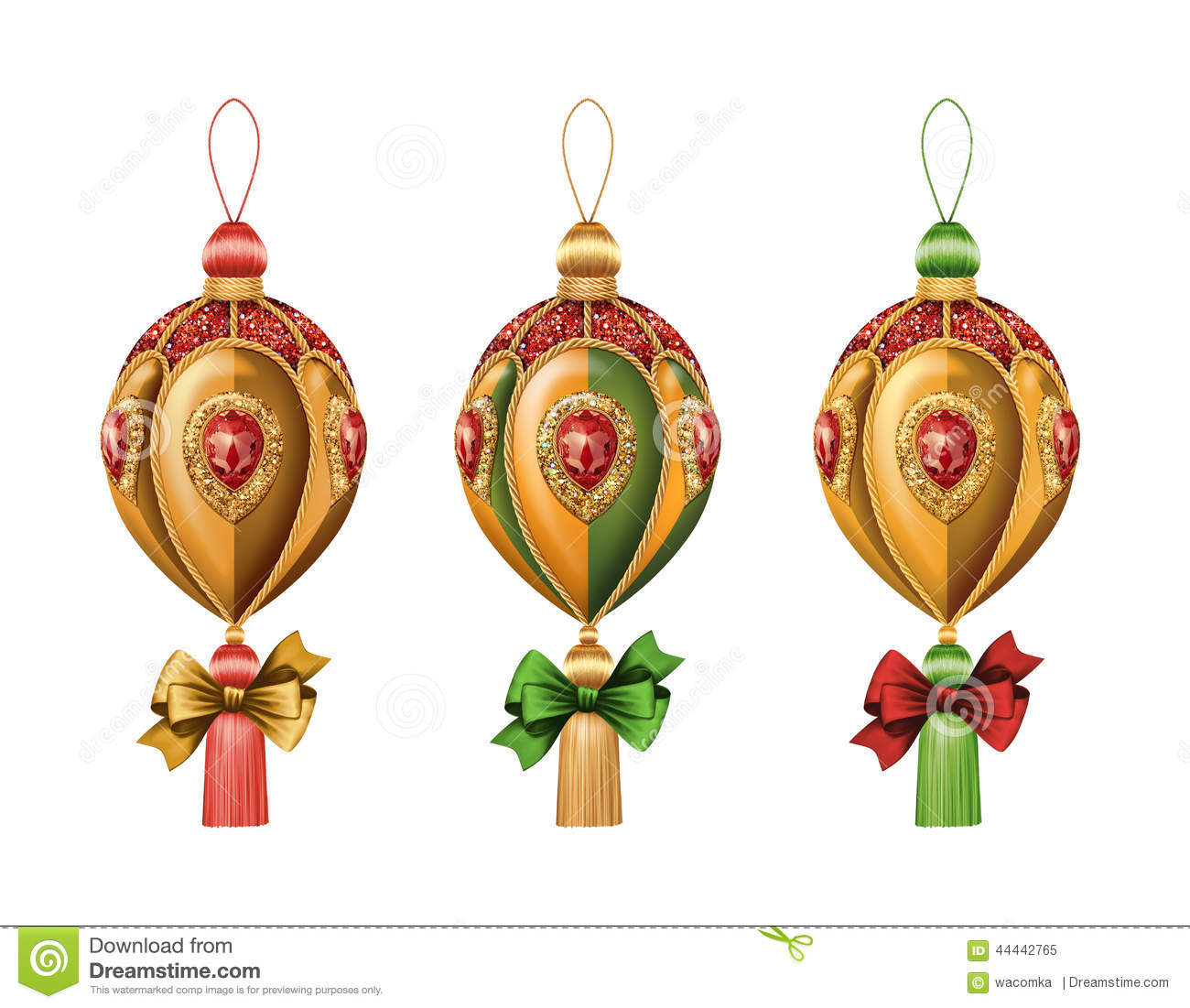 Christmas Ornaments Clip Art Isolated On White Background ...