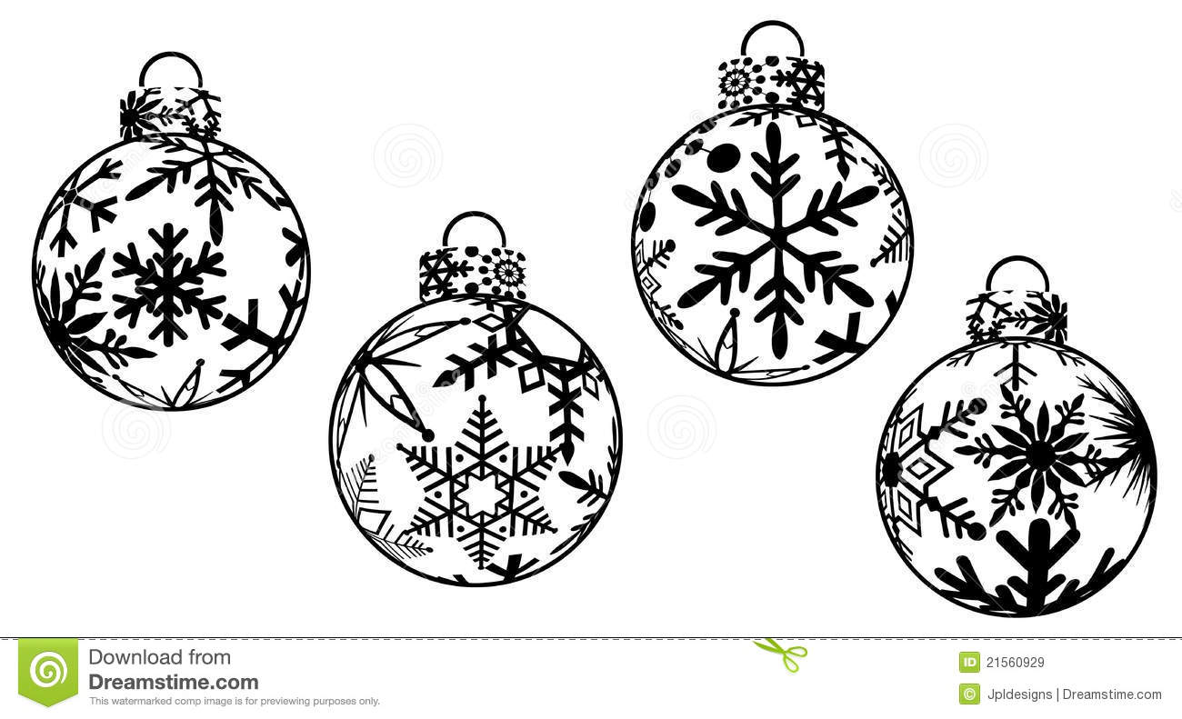 christmas ornaments clipart - Free Christmas Clip Art Black And White