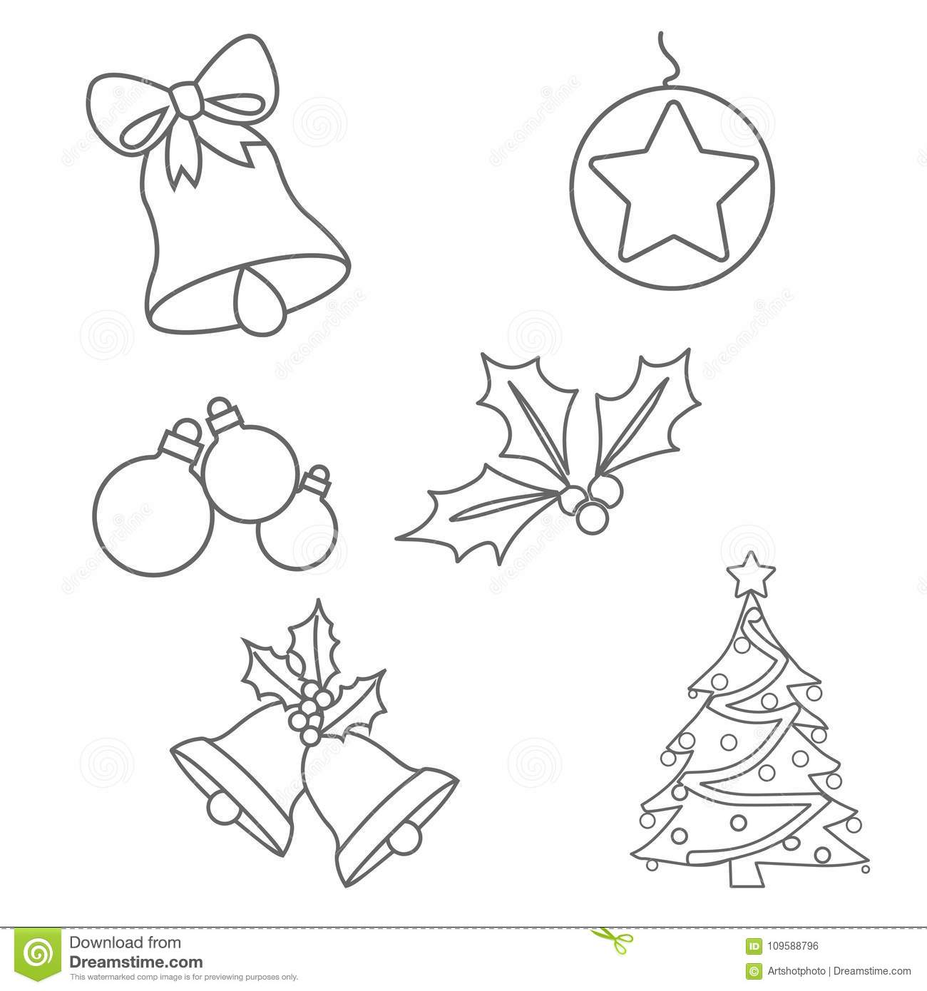 Christmas Ornaments Colouring Pages Stock Illustration ...