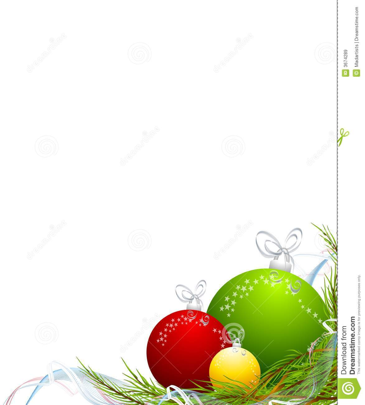 Christmas ornaments corner border stock illustration