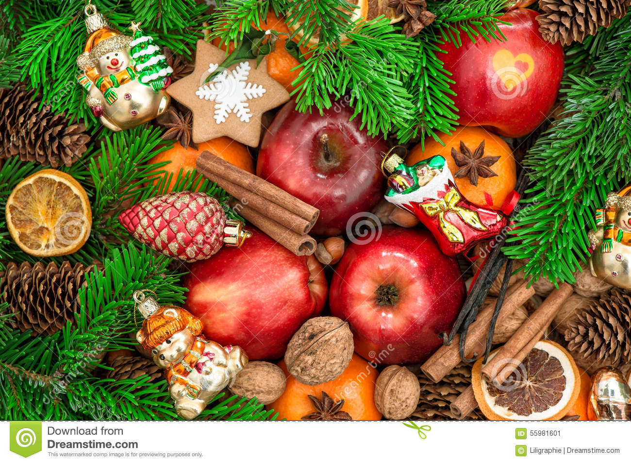 Christmas ornaments and decorations apples mandarin for Apples for decoration