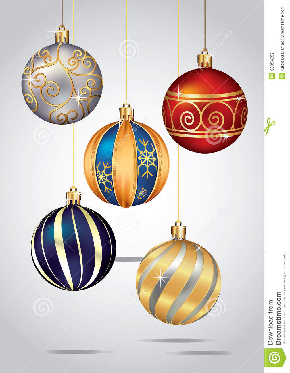 Christmas ornaments hanging on gold thread stock vector image 38954957 - Hanging christmas ornaments ...