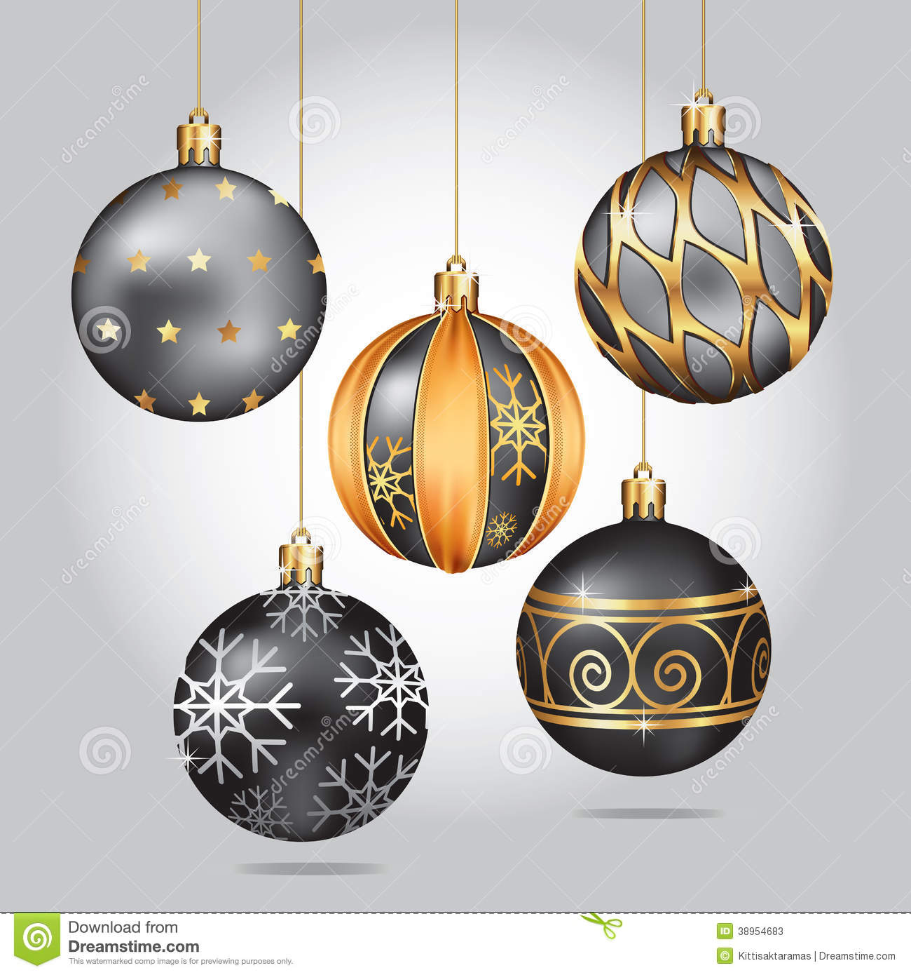 Christmas ornaments hanging on gold thread stock vector image 38954683 - Hanging christmas ornaments ...
