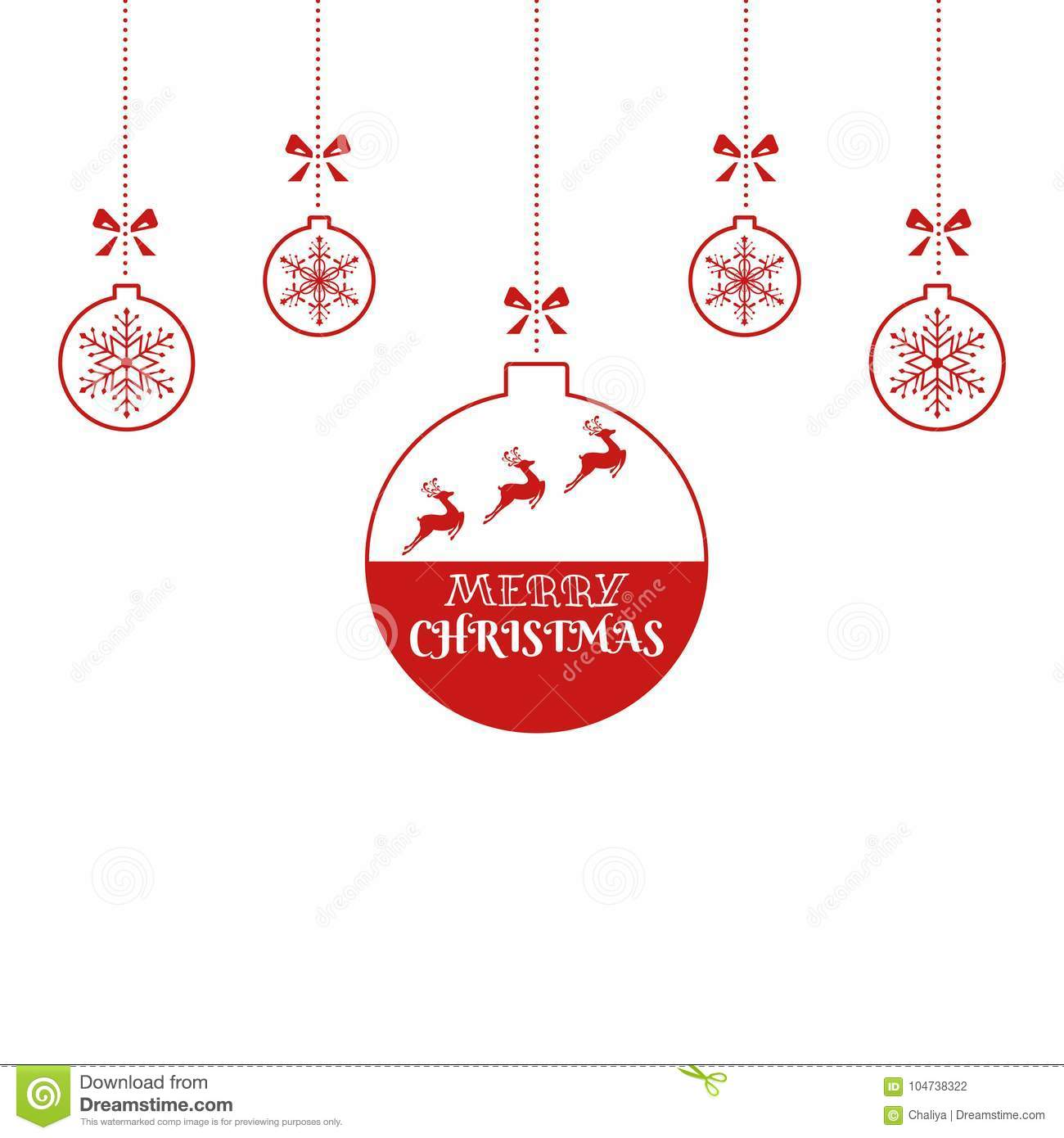 christmas ornaments hanging with reindeer and ribbon isolated background merry christmas and happy new year