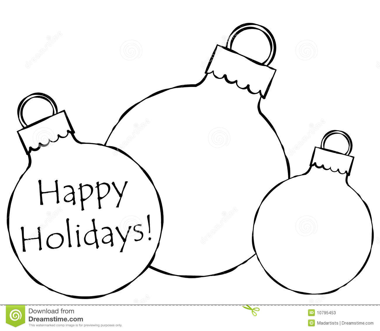 black and white illustration featuring Christmas ornaments - some ...