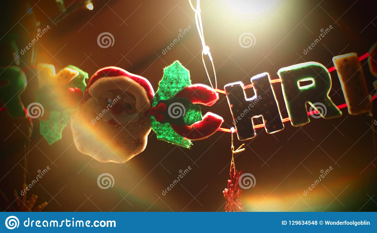 christmas ornaments merry christmas dangling words stock photo