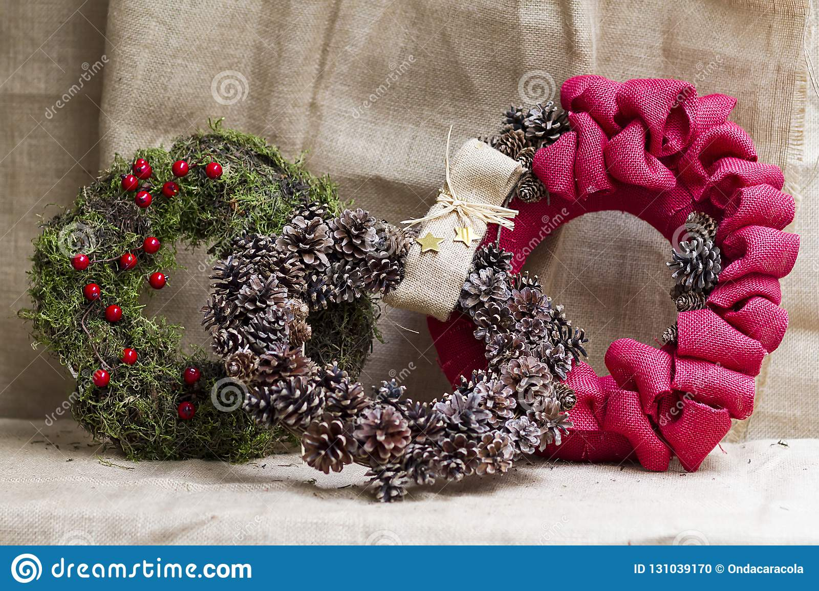 Crown Christmas Ornaments.Christmas Ornaments With Natural Plants Stock Photo Image