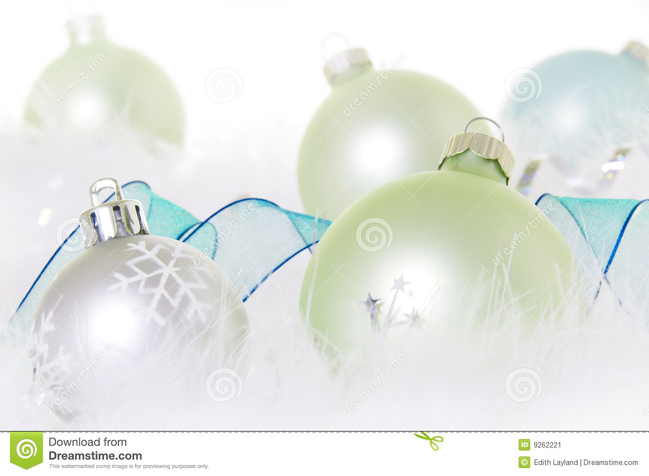 christmas ornaments in pastel green and blue - Pastel Green Christmas Decorations