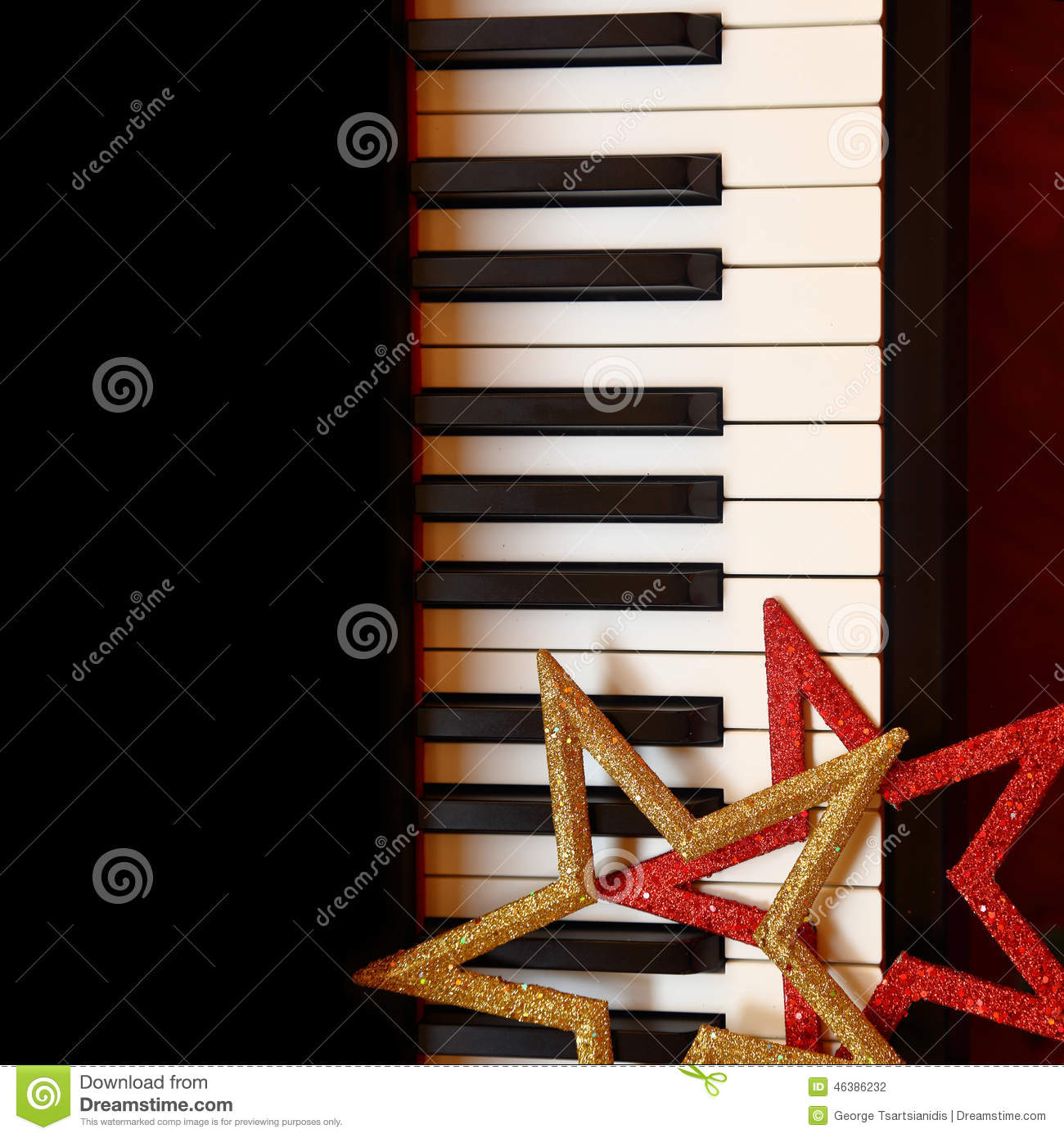 Christmas Ornaments On Piano Stock Photo - Image: 46386232
