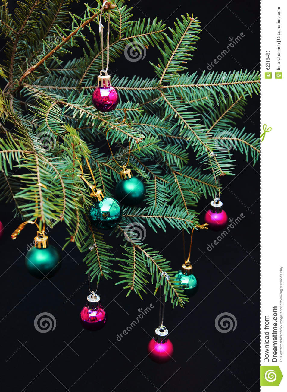 Purple And Black Christmas Tree Decorations : Christmas ornaments and pine branches on black background