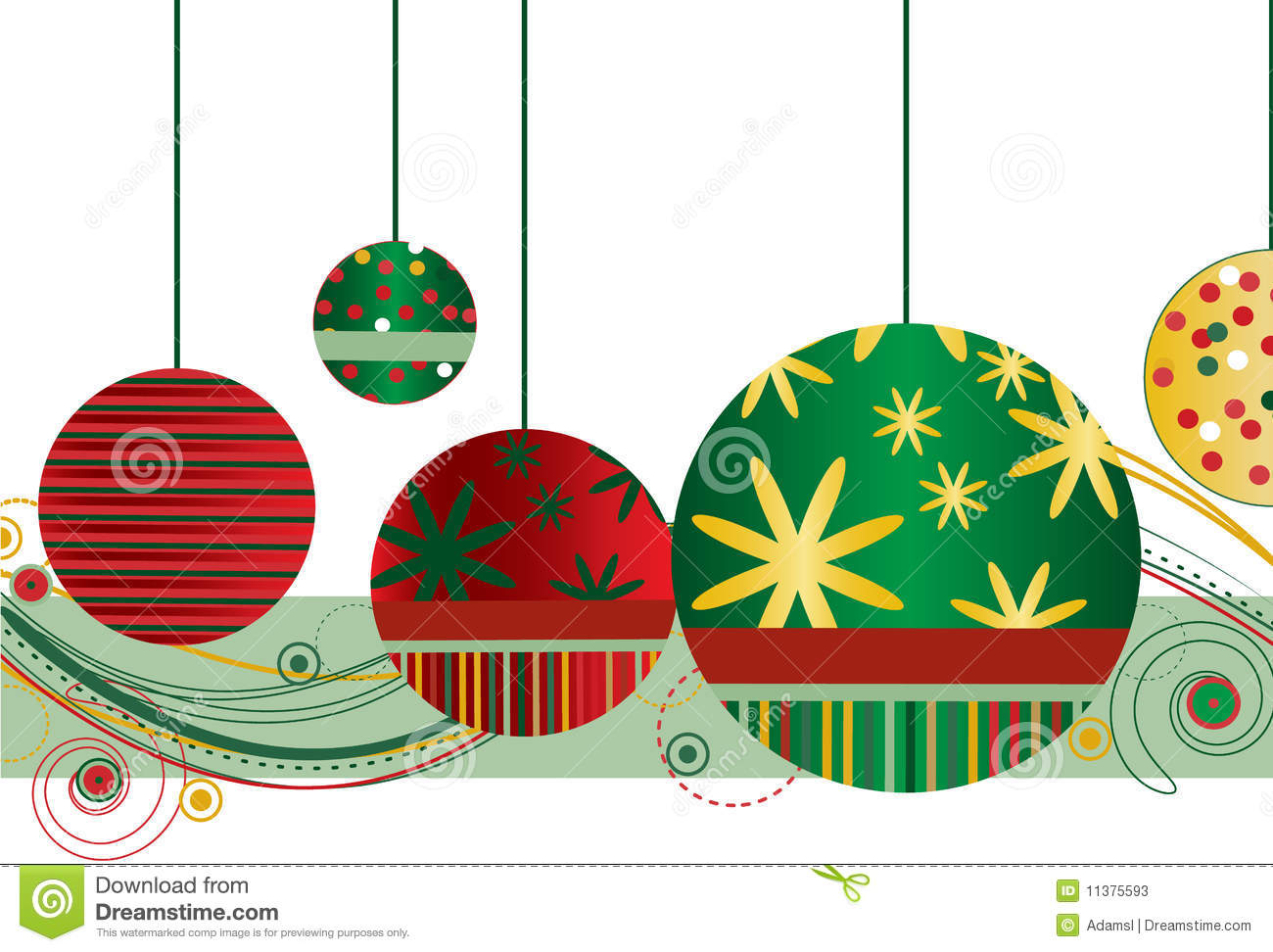 Christmas ornaments in red and green stock photos image for Red and green christmas decorations