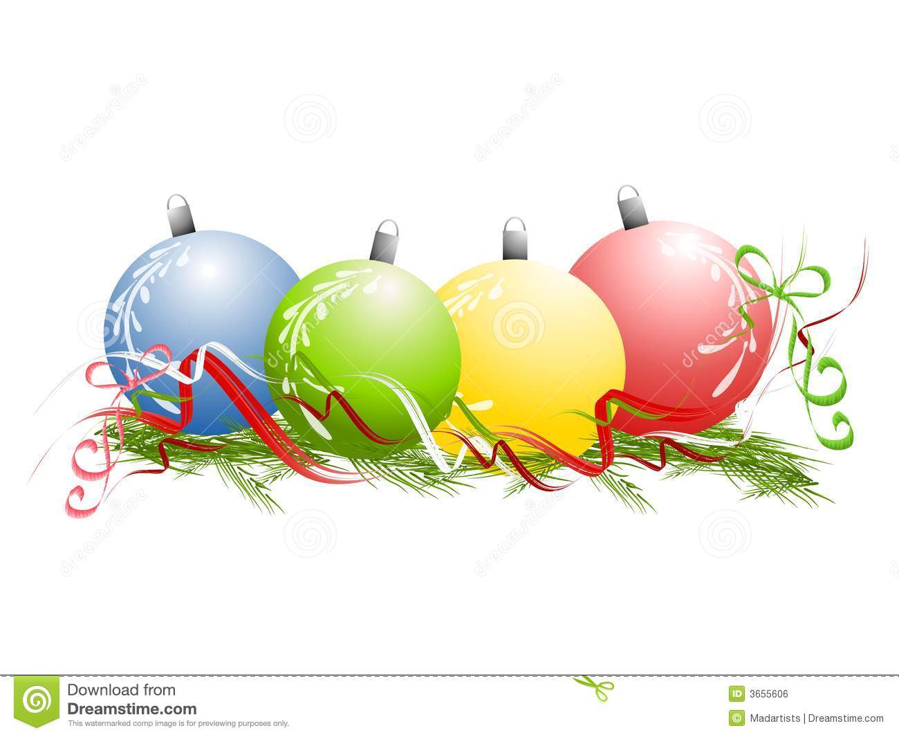 clip art illustration of a row of Christmas ornaments sitting on a ...