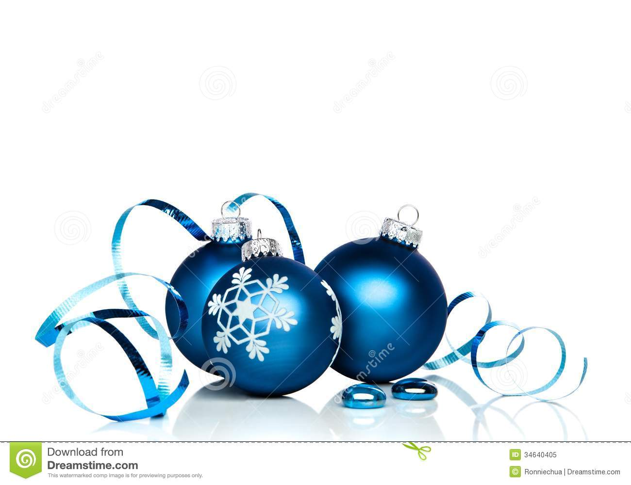 christmas ornaments and ribbon with white copy space