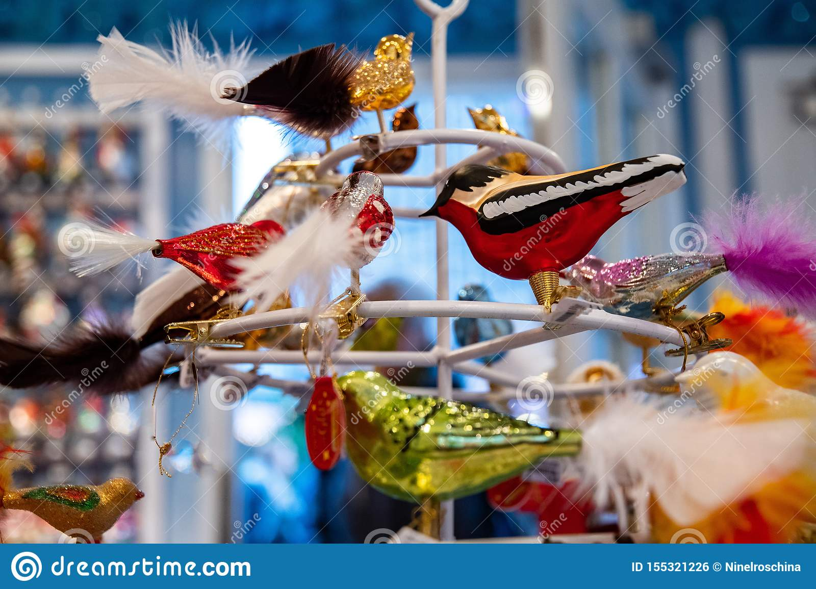 Fairytale Christmas Decorations.Christmas Ornaments In Shape Of Bright Colorful Birds With