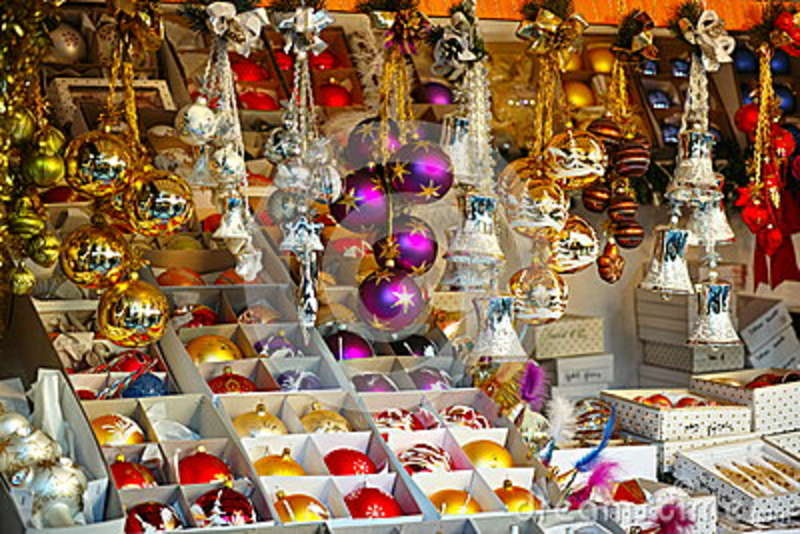 Christmas ornaments market stall