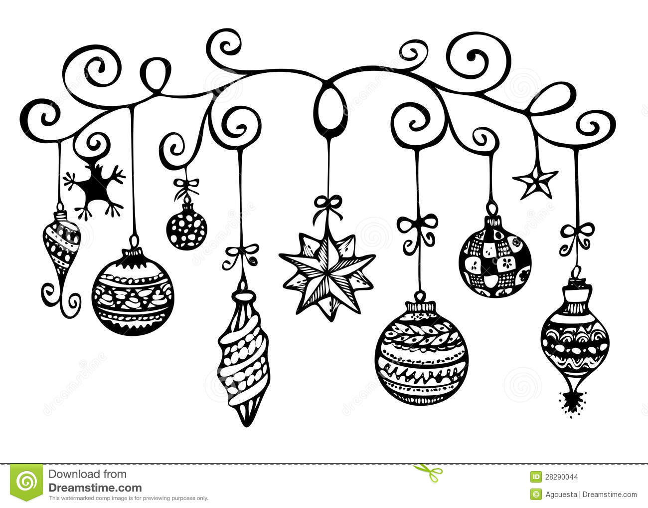 Christmas Ornaments Sketch Stock Images Image 28290044