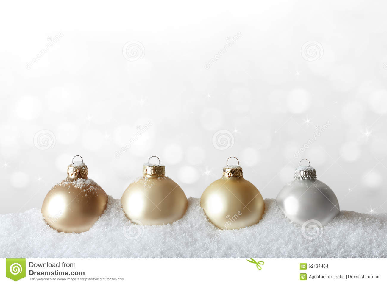 Christmas ornaments snow gold white