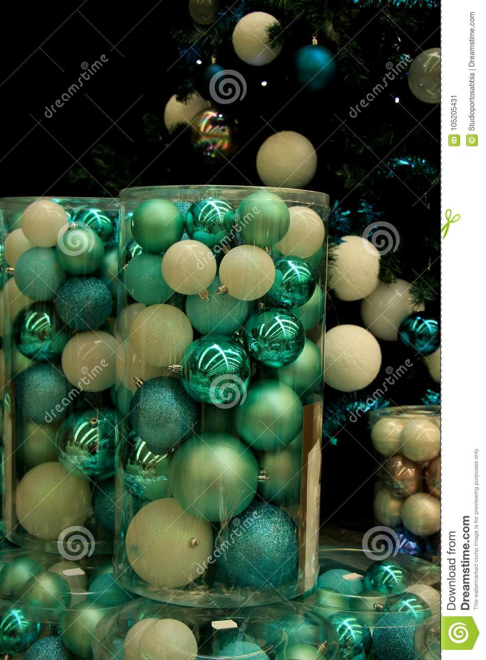 christmas ornaments in teal and pastel blue colors in a christmas retail shop - Pastel Green Christmas Decorations