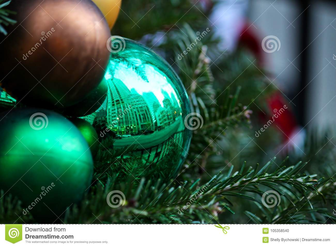 Christmas Tree Downtown Chicago.Christmas Ornaments On Tree In Downtown Chicago With