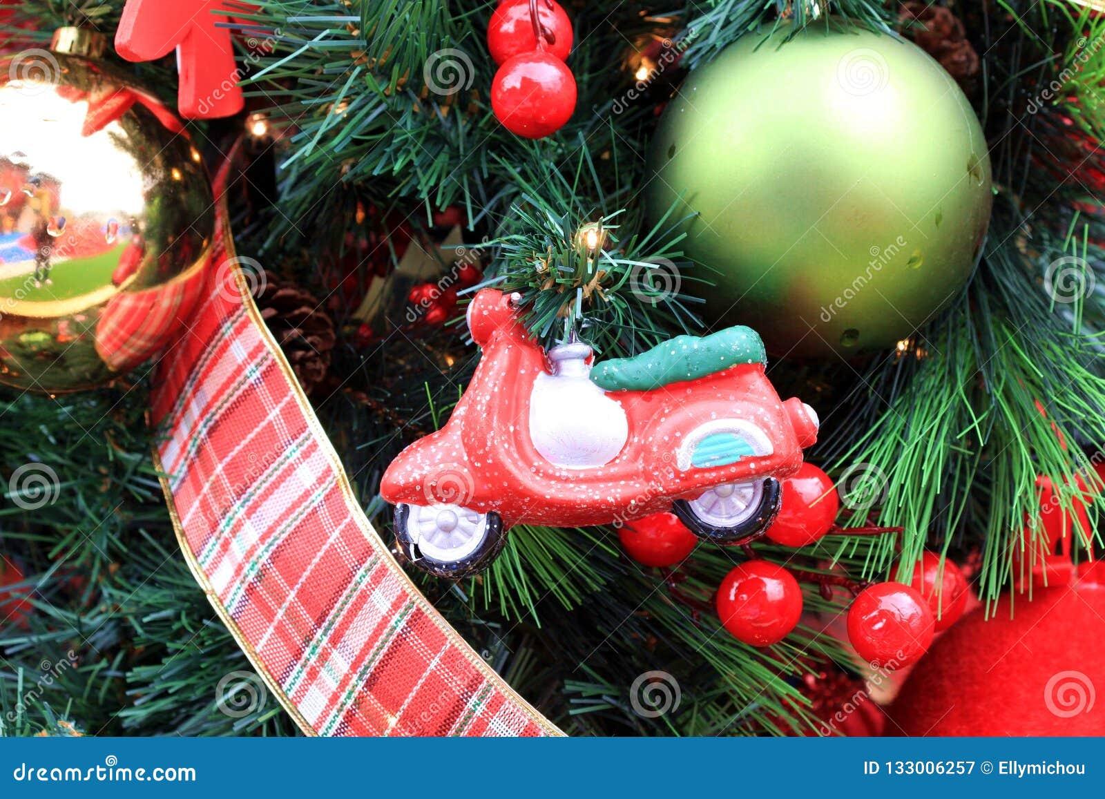 Christmas Toys Ornaments Garland Ribbon Stock Image Image Of