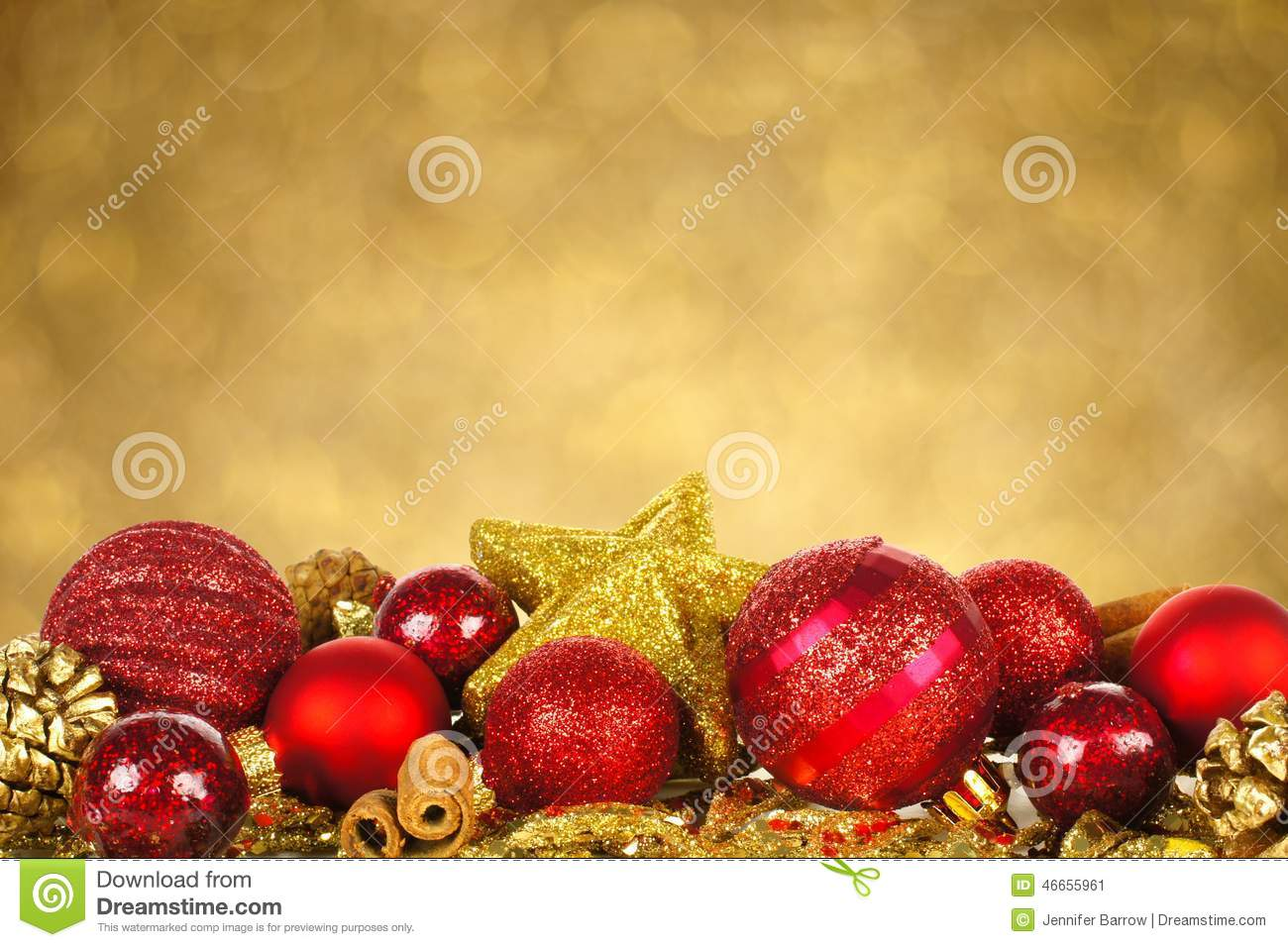 Christmas Ornaments With Twinkling Background Stock Photo ...