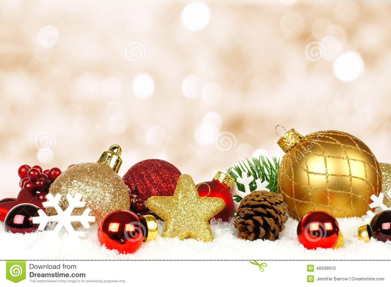 Christmas Ornaments Background.Christmas Ornaments With Twinkling Background Stock Photo