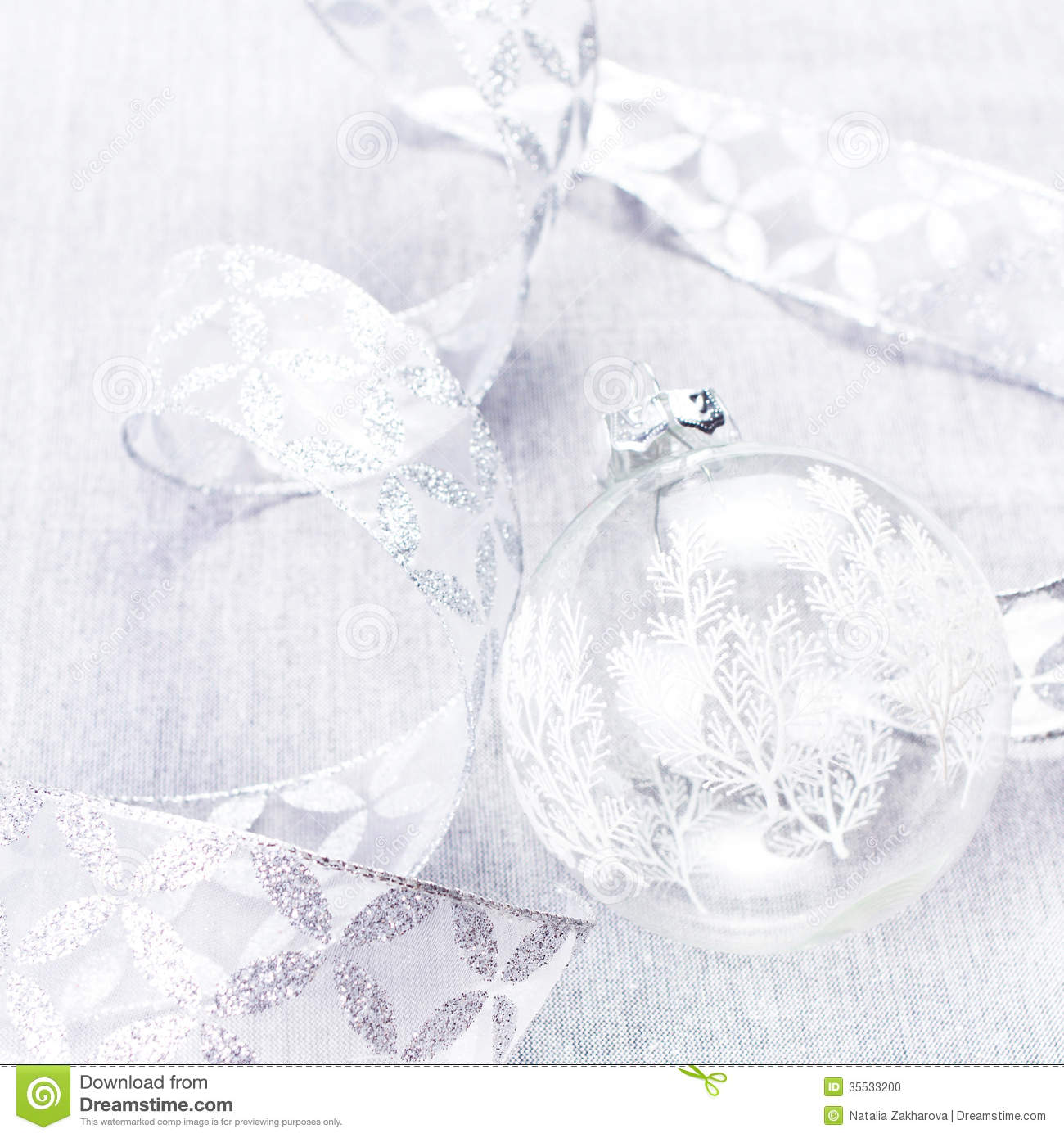 Christmas Ornaments With White Bauble And Silver Ribbon Close U Stock ...