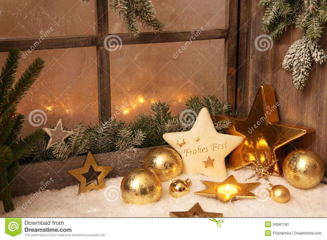 Christmas Ornaments On Window Sill Country Style
