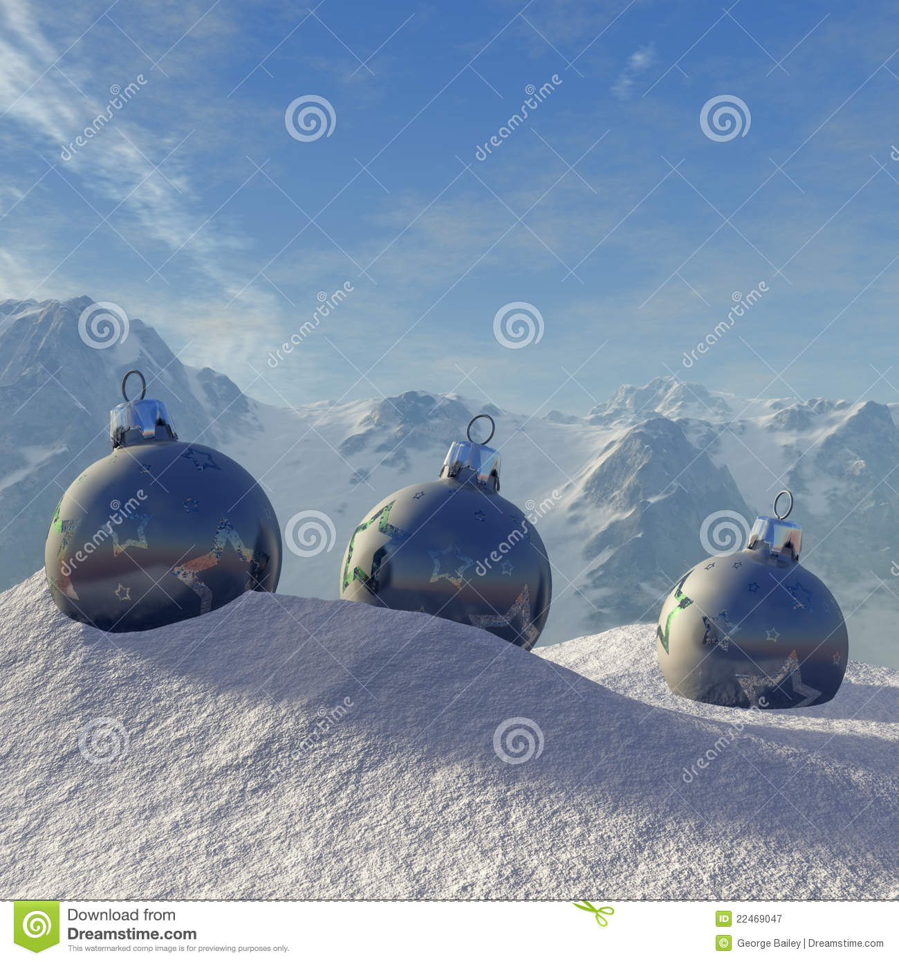 Christmas ornaments with winter backdrop royalty free stock