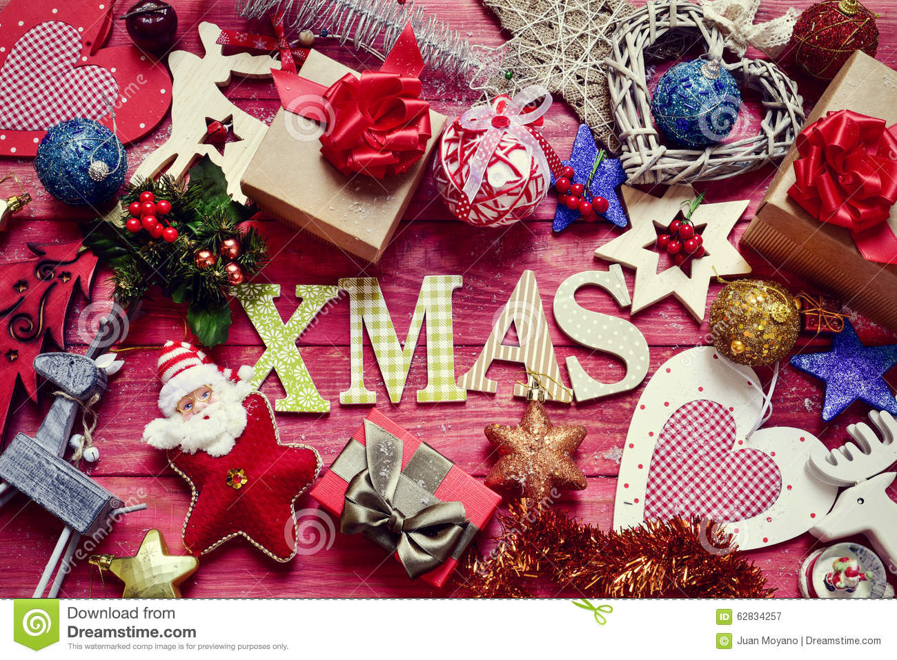 Christmas Ornaments And Word Xmas Stock Image - Image of ...