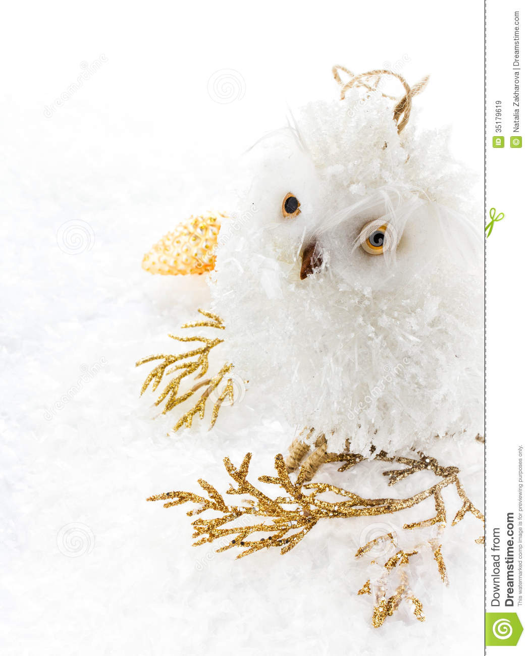 download christmas owl and decoration on a white snow christmas bright c stock image