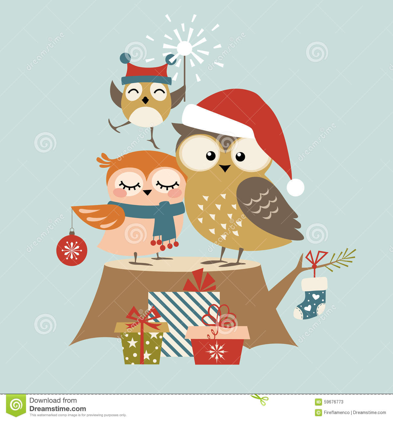 Christmas Owl Family Stock Vector - Image: 59676773