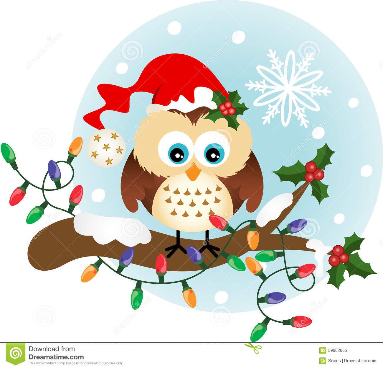 Christmas Owl On Holly Branch Stock Vector - Image: 59902665