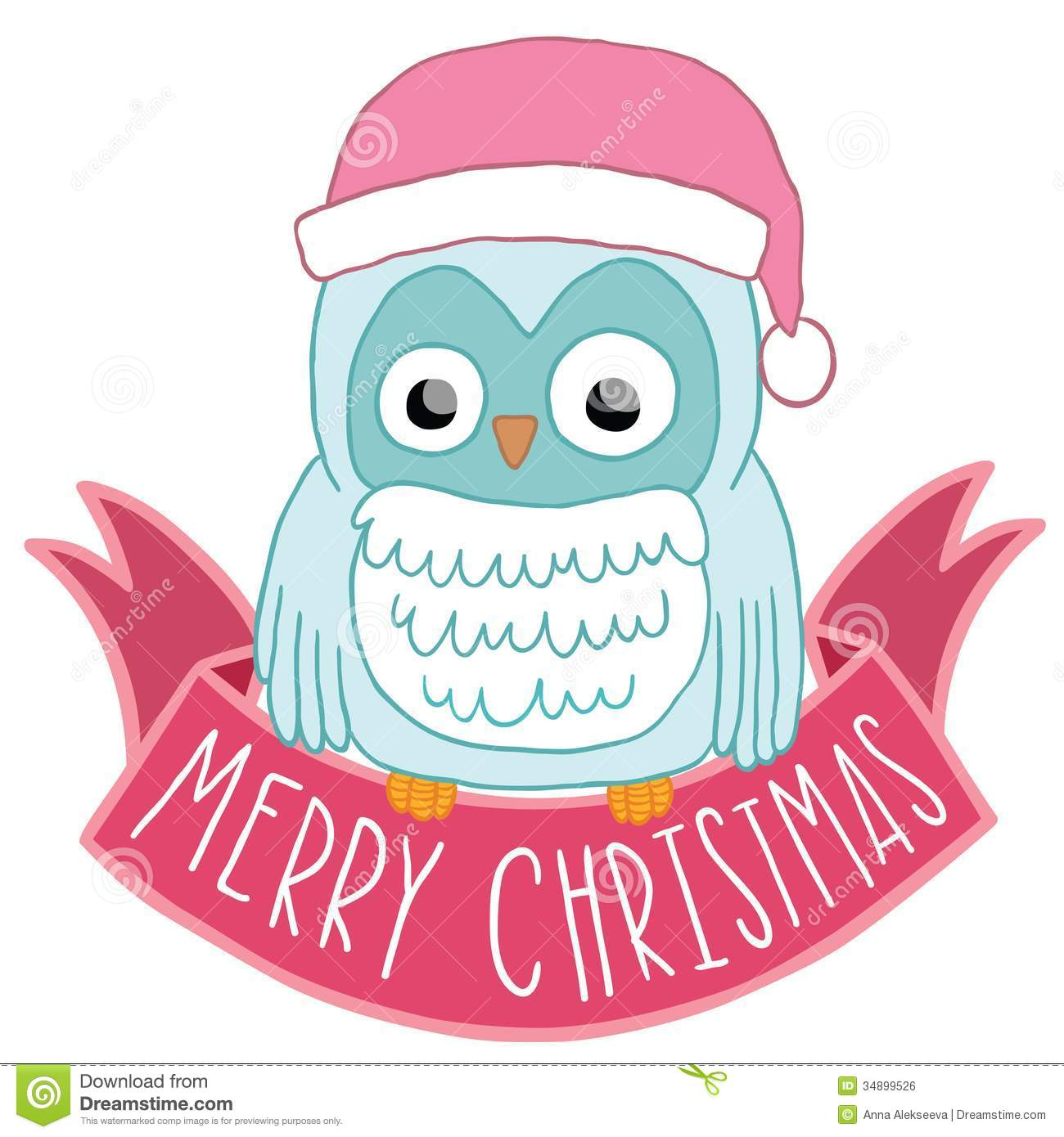 Christmas Owl In Santa Hat With Ribbon Royalty Free Stock Image ...