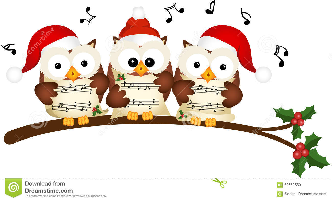 christmas owls choir singing stock vector illustration. Black Bedroom Furniture Sets. Home Design Ideas