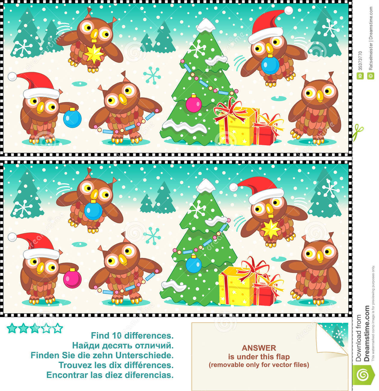 Christmas Owls Find The Differences Picture Puzzle Stock Photo - Image ...
