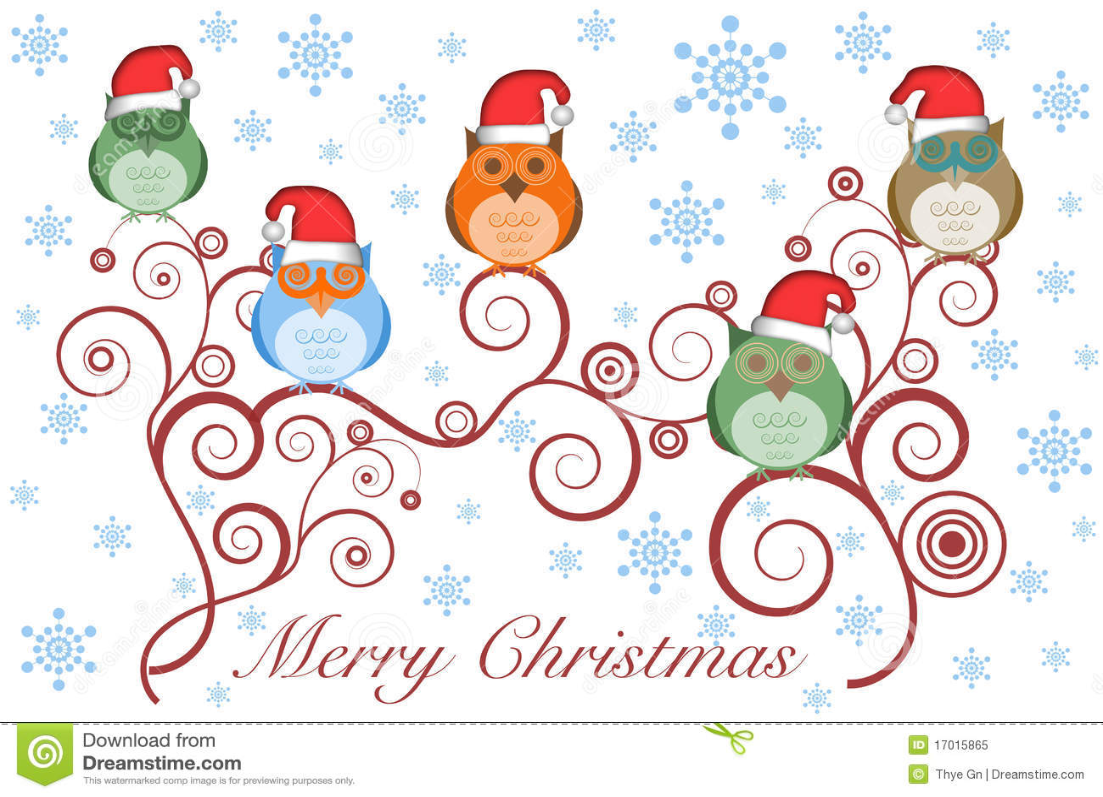 Christmas Owls With Santa Hat On Tree Royalty Free Stock Photo - Image ...