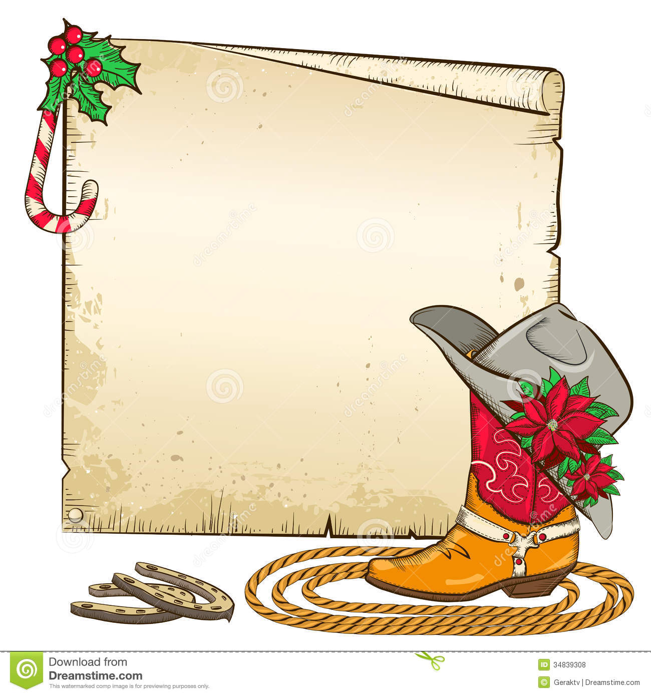christmas paper background with horseshoes and cow stock vector